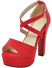 Artfaerie Damen T-Spangen High Heels Blockabsatz Sandalen Gladiator Sandaletten mit Riemchen Moderne Schuhe