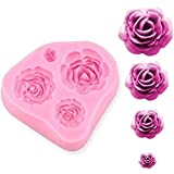 RKPM HOMES Roses Flower Silicone Cake Mold Chocolate Sugarcraft Decorating Fondant Fimo Tools 4 Size Pink Pack of 1 Mold Size