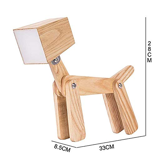 XINLEE Modern Dimmable Table Lamp Wooden Tactile Led Dog Lamps Bedside Table for Children's Living Room Kids Bedroom (Small, warm white 2800-3200k)