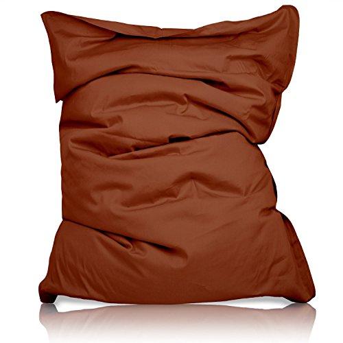 Lumaland Luxury superweicher XXL Sitzsack aus Baumwolle 380l Füllung 140 x 180 cm Indoor Braun