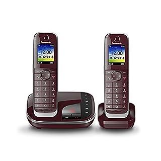 Panasonic KX-TGJ322GR Familien-Telefon mit Anrufbeantworter/ Duo Telefon mit Mobilteil, schnurloses Telefon, strahlungsarm, weinrot