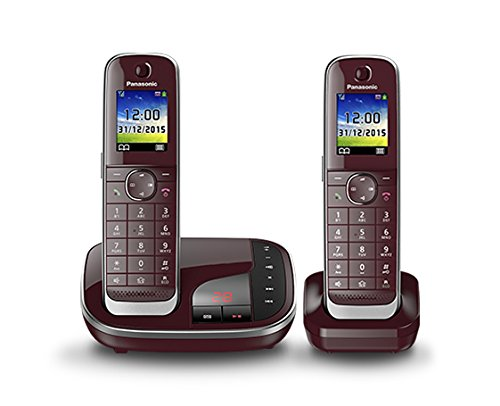 Panasonic KX-TGJ322GR Familien-Telefon mit Anrufbeantworter, 2 Mobilteile, Weinrot