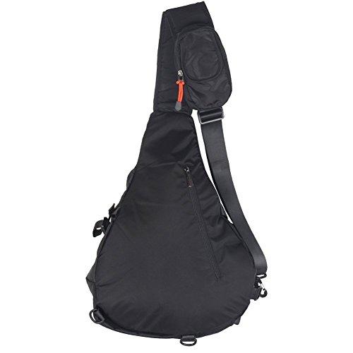 """Groß Sling-Rucksack Tasche Umhänge 13"""" 14"""" Laptop Crossover Schulter Sling Bag schwarz"""