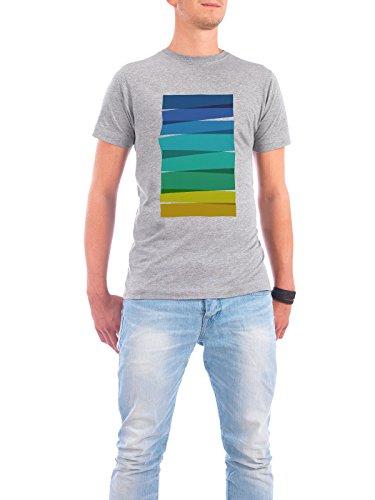"Design T-Shirt Männer Continental Cotton ""Colorful Stripes Painting I"" - stylisches Shirt Abstrakt Geometrie Kindermotive Reise / Strand und Meer von Paper Pixel Print Grau"