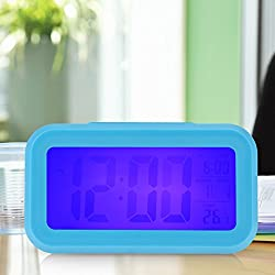 Generic Time Date Alarm Clock Temperature Display LED Alarm Clock Light-activated Sense Snooze Function Calendar Digital Clock Reveil Blue