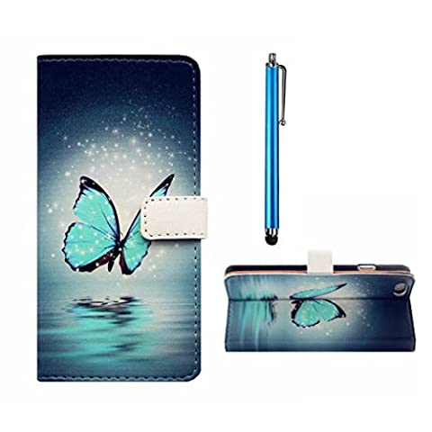 MUTOUREN Samsung Galaxy Ace 4 G357 Wallet Case Embossed Premium PU Leather Magnetic Flip Wallet Cover with Detachable Hand Strap & Card Slots & Stand Function+blue stylus accessories pen-blue butterfly