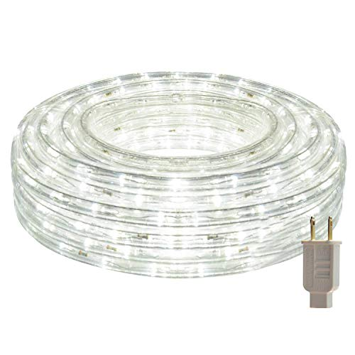 HEI LIANG LED Rope Lights 120V Waterproof LED String Lights for Patio Backyard Garden Wedding Christmas Party Indoor and Outdoor Decoration (50FT/15M White)
