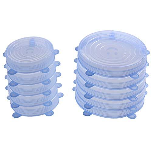 77l coperchi in silicone stretch, silicone stretch coperchi [set di 10] 2 diverse dimensioni coperchio in silicone per alimenti, riutilizzabile ed espandibile coperchio per tazza per pentole e freezer