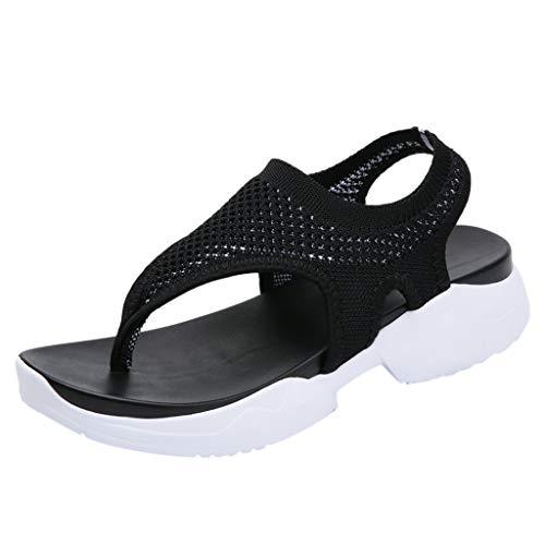 damen sandalen sommer flip flops böhmische stil flache schuhe roman runde kopf knöchelriemen geflochtene sandalen flats thong strand hausschuhe