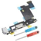 MMOBIEL Dock Connector kompatibel mit iPhone 6S Plus (Schwarz/Space Grey) Ladebuchse Port Flex inkl 2 x Schraubenzieher