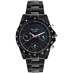 Ross Rino Sport Unisex Quarzuhr mit schwarzem Zifferblatt Analog-Anzeige und schwarz Edelstahl Armband