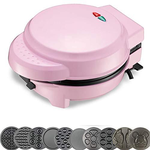 FJNS 800W Piastra elettrica Antiaderente per Waffle Combinazione Multifunzione a Riscaldamento a Doppia Faccia da Combinazione 7-in-1 teglia(Rosa),9setsofbakingtrays
