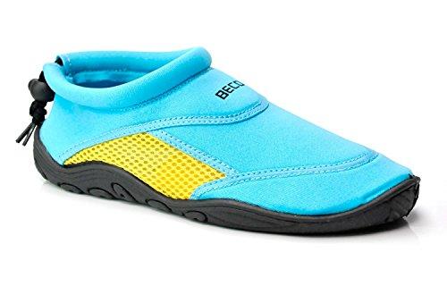 BECO Badeschuhe / Surfschuhe für Damen und Herren sonder Edition (blau/gold, 41)