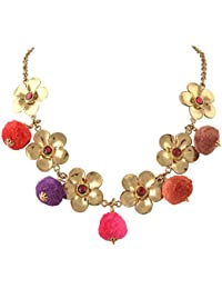 Zephyrr Fashion Gold Tone Floral Necklace With Pompoms Kundan Stones Jewellery For Girls