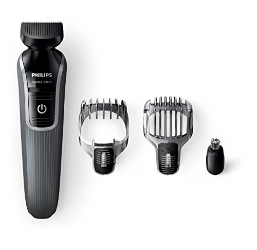 Philips Series 3000 4-in-1 Waterproof Mens Grooming Kit (Beard/Stubble Trimmer/Hair