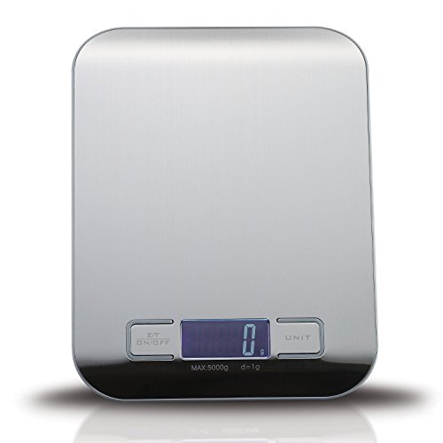 Balance-CuisineGenki-Balance-de-Cuisine-Balance-Electronique5kg1gde-Haute-Prcision-Tactile-Sensiblecran-LCD-RtroclairAcier-Inoxydable