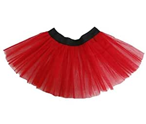 TUTU NETTED UNDERSKIRT LADIES GIRLS DANCE WEAR SKIRT FANCY DRESS BLACK ELASTICATED WASITBAND 10 COLOURS FOR ALL OCCASIONS (RED)