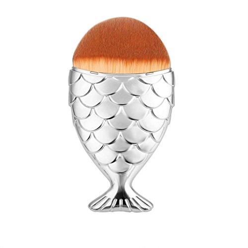 Brosse Cosmétiques,Longra Echelle de poisson Maquillage Brosse Fishtail Bottom Brosse Poudre Blush Maquillage Brosse Cosmétique(Argent)