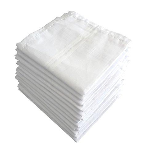 S4S Men\'s 100% Cotton Premium Collection Handkerchiefs - Pack of 12 (White_46X46 CM)