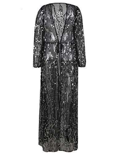 PrettyGuide Damen Pailletten Strickjacke Vorne öffnen 1920s Kimono Sparkly Club Cover Up Silber