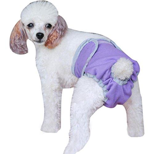 Saingace Hundbekleidung Hunde Kleider Haustier Kostüm Bekleidung Waschbare Windeln Sanitär männlicher Hund Schutz Hose Große männlichen Hund Hosen (S, Lila) (Hund Sanitär-kleider)