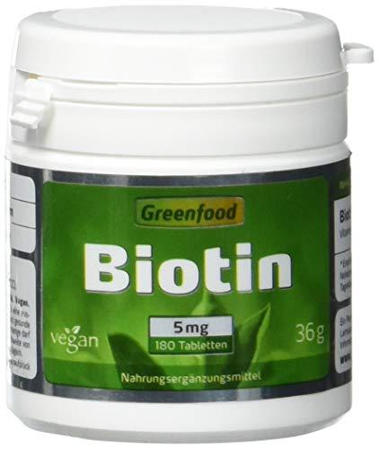 Biotin, 5 mg, hochdosiert, 180 Tabletten, vegan - das Beauty-Vitamin für schöne Haut und kräftige Haare. OHNE künstliche Zusätze. Ohne Gentechnik. -