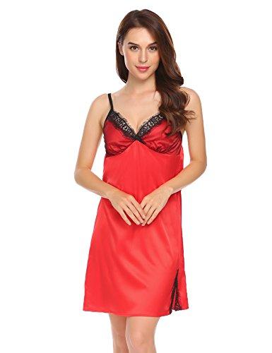 ADOME Damen Elegant Nachthemd Satin Nachtwäsche Spitze Nachtkleid Verstellbar Träger Negligee Rot107
