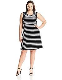Marc New York Performance Women's Plus Size Thin Stripe Dress with Shelf Bra