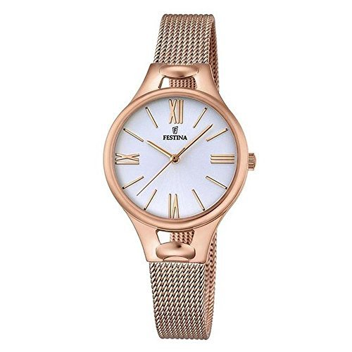 Festina Women's Quartz Watch with Black Dial Analogue Display Quartz One Size – silver pink