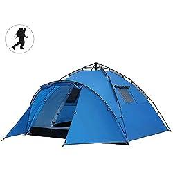 TJ-DZSW Tiendas Refugio de Acampada Familia al Aire Libre 3-4 Personas Multifuncional Impermeable Doble Capa Automático Hidráulica Tienda Senderismo Tiendas de Campaña, Blue