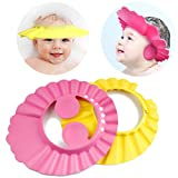 #5: Adjustable Safe Soft Bathing Baby Shower Cap Wash Hair for Children Baby Eye Ear Protector Adjustable Leaves Shape Bathing Shower/Shampoo Cap Hat Pack of 1