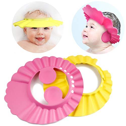 Adjustable Safe Soft Bathing Baby Shower Cap Wash Hair for Children Baby Eye Ear Protector Adjustable Leaves Shape Bathing Shower/Shampoo Cap Hat Pack of 1