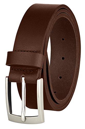 Ledergürtel von MACOSTA, Freizeit und Business Gürtel aus echtem Leder (105 cm, Cognac Braun) (Breite Braune Gürtel)