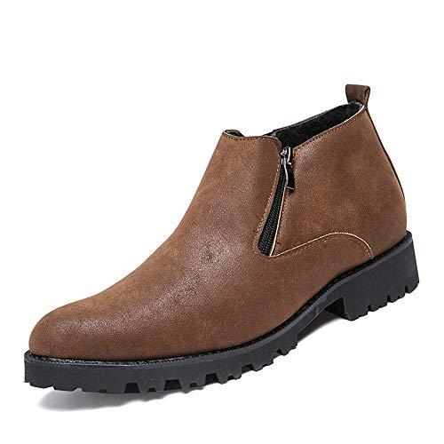 HILOTU Chelsea-Stiefel für Herren,Modischer Slip-On-Schuh mit einfarbiger Zehe Komfortable wasserdichte Winterstiefel (Color : Braun, Größe : 43 EU) (Herren-slip-on Stiefel Braun)