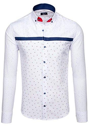BOLF Langarm Herrenhemd Hemd Men Herren Figurbetont Freizeit Classic 6903 Weiß