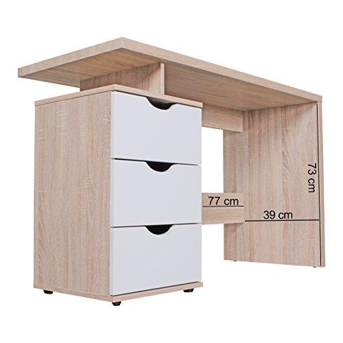 FineBuy tavolo scrivania design con cassetto Sonoma / bianco ...