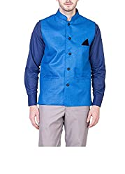 Akaas Mens Cotton Blend Nehru and Modi Blue Jacket Ethnic Style For Jute Jacket Size-40