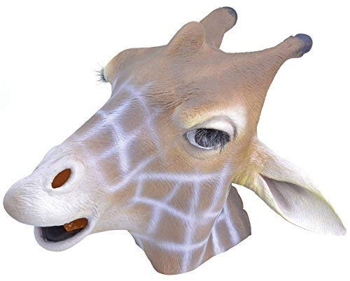Für Erwachsene Giraffe Kostüm Herren - Fancy Me Erwachsene Damen Herren Gummi das Gesicht Bedeckend Maske Tier Halloween Kostüm Kleid Outfit Zubehör - Giraffe