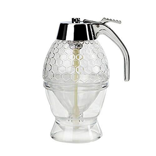Cutogain Dispensador de Miel, Contenedor de Almacenamiento de Miel, Cristal de Cristal Dispensador de Miel Botella Transparente de contenedor de Almacenamiento de Miel
