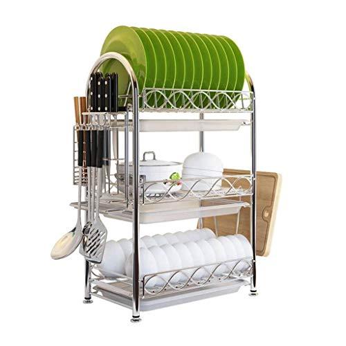 Yankuoo Einteiliger rostfreier Edelstahl-Küchen-Spülmaschinen-Wäscheständer, 3-lagiger Schüssel- / Teller- / Messer- / Essstäbchen-Speicher-Gestell mit Tropfschale und Haken -