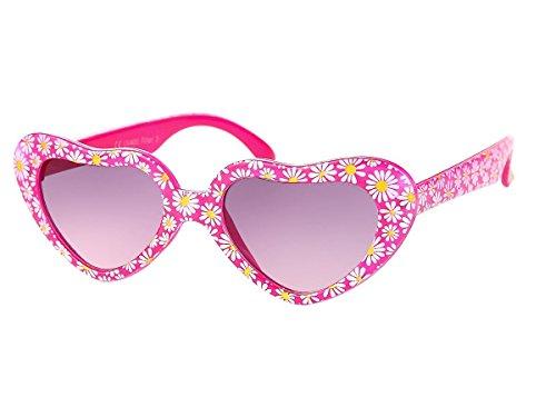 Alsino Mädchen Brille Herzbrille Kinder Sonnenbrille Viper Herzform mit Blümchen, Variante wählen:K-94 pink