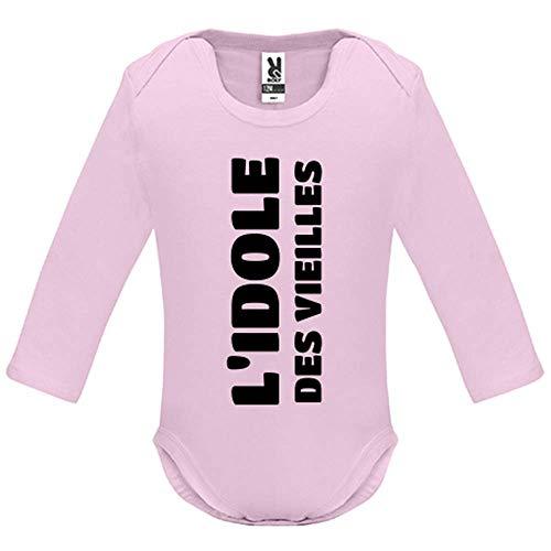 LookMyKase Body bébé - Manche Longue - L Idole des Vieilles - Bébé Fille - Rose - 3MOIS