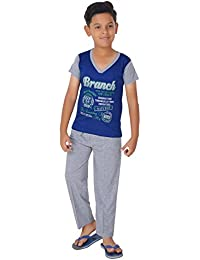Ginessa Summer Night Suit for Kids / Boys - Night wear - Track Suits - Pyjama Tshirt Night Wear Combo Set -Cotton Material-Half Sleeve - Multi Color - Branded Kids Wear -For 6/8/10/12/14/16 Year Boys - Track Pant and T-shirt