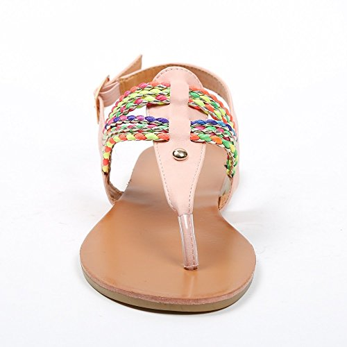 Ideal ShoesMaiane Sandale, flach, mit geflochtenen Riemen, bunt Rosa