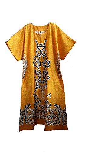 44660), da donna, in cotone, a forma di uovo con motivo floreale, colore: giallo medio Kaftan. Misura unica adatta a, 10-20