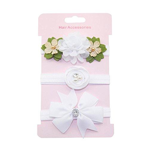 Haarnadel, erthome 3Pcs Kinder Blumen Stirnband Mädchen Baby Bowknot Hairband Set Haar Clips (Weiß)