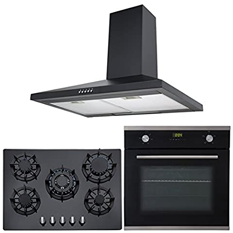 SIA Single 60cm Electric Oven, Black Glass 70cm Gas Hob & Chimney Cooker Hood