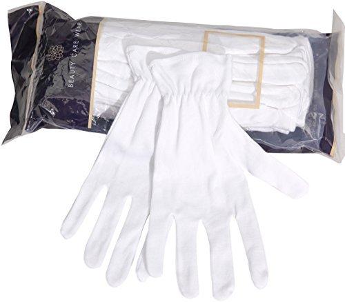 20 Medium White Cotton Gloves For Dry & Sensitive