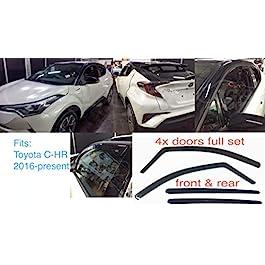 4x Deflettori D'Aria Compatibile con Toyota C-HR 2016-presenti Antiturbo Per Auto Vetro Acrilico Anti Vento Guardia di…