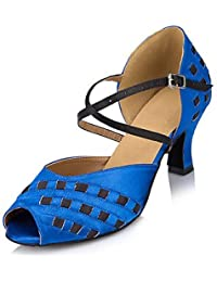 FJY&WX Mujer Latino Cuero Sandalia Zapatilla Profesional Tacón Cuadrado Rojo Azul , us5 / eu35 / uk3 / cn34